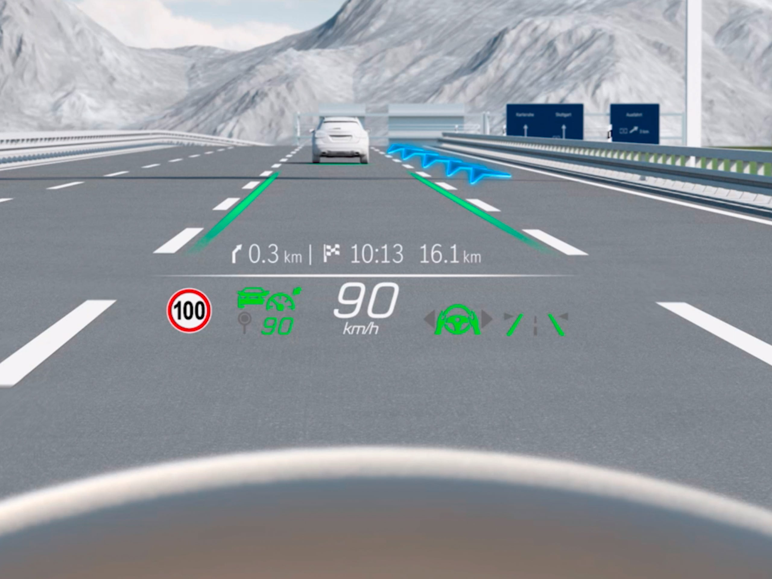El vídeo muestra el funcionamiento del Head-up-Display de la Clase C Berlina de Mercedes-Benz.